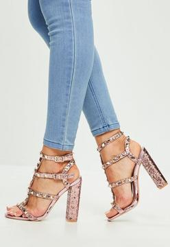 Missguided Pink Glitter Studded Gladiator Sandals