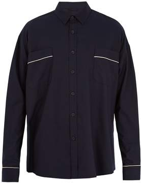 Fear Of God Contrast-piped oversized cotton-twill shirt