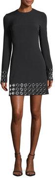 David Koma Long-Sleeve Mirror Studded Dress