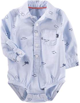 Osh Kosh Oshkosh Bgosh Baby Boy Sky's the Limit Airplane Pattern Button-Front Bodysuit