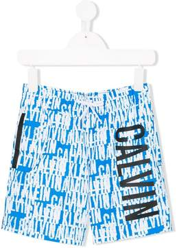 Calvin Klein Kids logo print swimming trunks