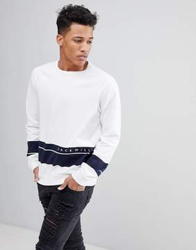 Jack Wills Gladstone Sweatshirt in White With Navy Stripe