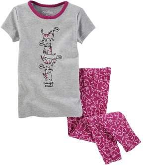 Osh Kosh Girls 4-14 Midnight Snack? Kitty Tee & Bottoms Pajama Set