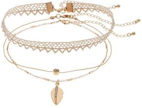 Mudd Leaf Pendant Choker Necklace Set