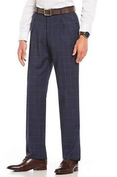 Hart Schaffner Marx Classic Fit Pleated Windowpane Dress Pants