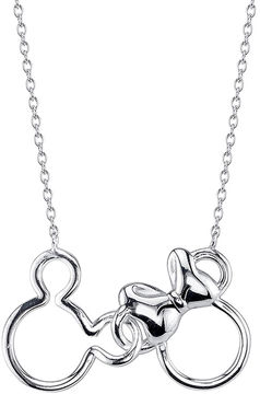 Disney Mickey Mouse and Minnie Mouse Sterling Silver Best Friends Necklace