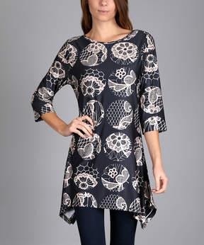 Lily Black & Beige Floral Dot Sidetail Tunic - Women