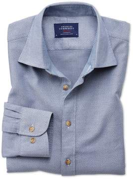 Charles Tyrwhitt Classic Fit Washed Textured Denim Blue Cotton Casual Shirt Single Cuff Size Large
