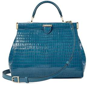 Aspinal of London Small Florence Frame Bag In Deep Shine Topaz Small Croc