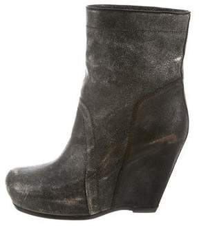 Rick Owens Distressed Wedge Boots w/ Tags