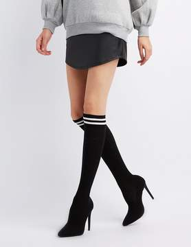 Charlotte Russe Striped Ribbed Sock Dress Booties
