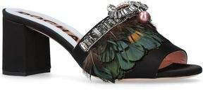 Rochas Satin Feather Mules 60
