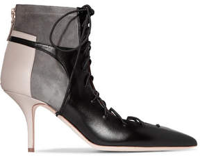 Malone Souliers Montana Lace-up Leather And Suede Ankle Boots - Black