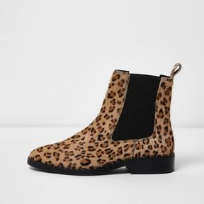 River Island Womens Beige leather leopard chelsea boots