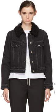 3.1 Phillip Lim Black Denim Shearling Collar Jacket