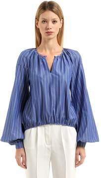 Stella Jean Striped Cotton Blouse W/ Puff Sleeves