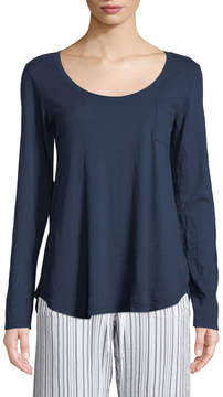 Allen Allen Long-Sleeve Scoop-Neck Pocket Tee