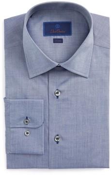 David Donahue Men's Trim Fit Chambray Dress Shirt