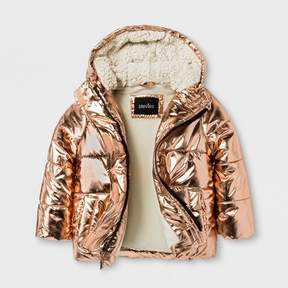 Stevies Toddler Girls' Puffer Jacket - Rose Gold