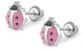 Ice Children's Silver pink Enamel Ladybugs Girls' Screw Back Earrings