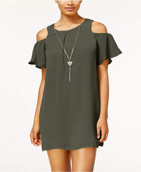 As U Wish Juniors' Cold-Shoulder Necklace Shift Dress