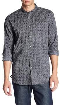 John Varvatos Collection Print Pintuck Stitched Trim Fit Shirt