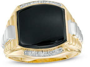 Zales Men's 13.0mm Cushion-Cut Onyx Stepped Shank Ring in 10K Two-Tone Gold