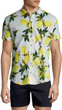 Parke & Ronen Men's Slim Stretch Poplin Print Sportshirt