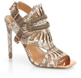 Ivy Kirzhner Valentin Mixed-Media Studded Calf Hair & Leather Cut-Out Sandals