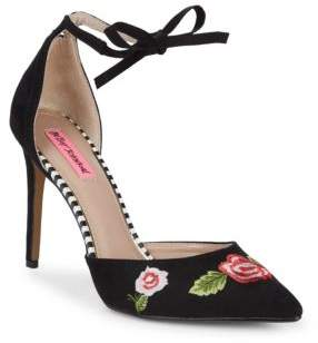 Betsey Johnson Abbie Embroidered Floral Stiletto Pumps