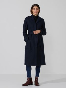 Frank and Oak Wool-Blend Belted Coat in Navy