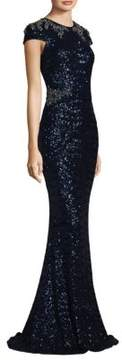 David Meister Sequin Beaded Gown