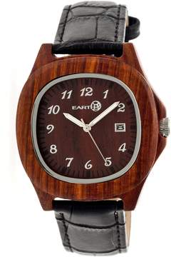 Earth Sherwood Red Dial Black Leather Unisex Watch