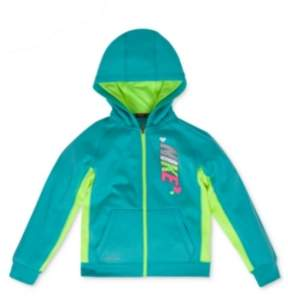 Nike Toddler & Little Girls Teal Blue Therma-Fit Hoodie Zip Front Sweatshirt