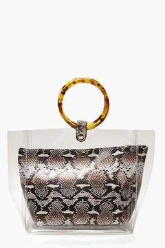 boohoo Clear & Faux Snake Bag With Resin Handles