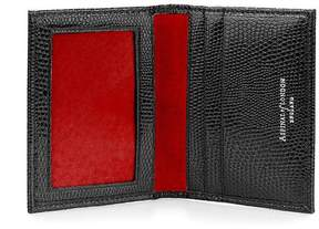 Aspinal of London | Id Travel Card Case In Jet Black Lizard Red Suede | Jet black lizard red suede