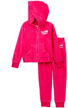 Juicy Couture Pink Velour Heart Hoodie & Pants Set (Little Girls)
