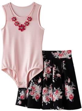 Knitworks Girls 7-16 Mesh Neckline Bodysuit & Floral Skater Skirt Set with Necklace