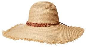 San Diego Hat Company RHL3090OS Raffia Braid w/ Double Stone Trim Sun Brim Caps