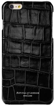 Aspinal of London Iphone 7 Leather Cover In Deep Shine Black Croc Black Suede