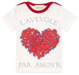 Gucci Baby Girl's Heart Corsage-Print Tee