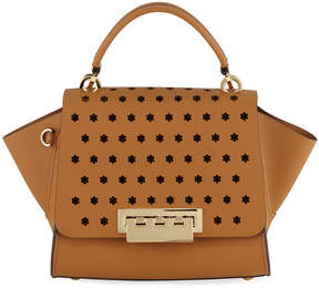 Zac Posen Eartha Floral-Perforated Leather Crossbody Bag, Camel