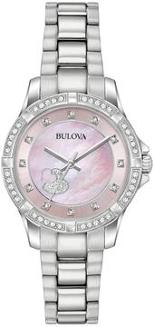 Bulova Woman's Crystal Heart Stainless Steel Watch - 96L237