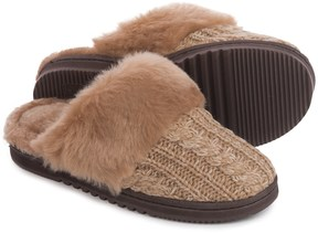 Dearfoams Marled Cable-Knit Scuff Slippers (For Women)