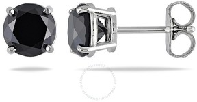 Black Diamond Amour 14KW 2ct TDW Solitaire Earrings Traditional-Basket