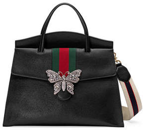 Gucci Linea Totem Large Leather Top-Handle Bag with Butterfly & Web Strap - DARK BROWN - STYLE