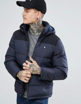 Jack Wills Boreham Contrast Yoke Jacket With Hood In Navy