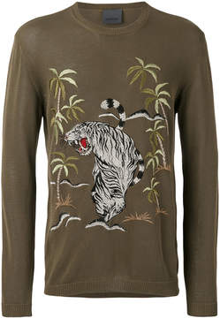 Laneus jungle embroidered jumper