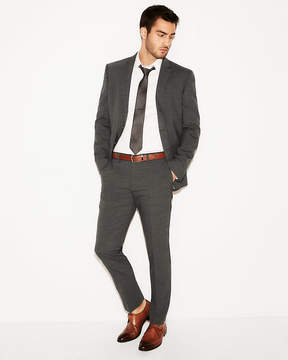 Express Slim Charcoal Gray Check Stretch Wool-Blend Suit Pant