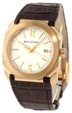 Bvlgari Octo Solotempo Silvered Dial 18kt Pink Gold Men's Watch